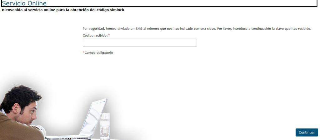 Página de Movistar para que insertes el código que te enviaron por SMS después de que insertaras tu número de teléfono en la página web anterior.