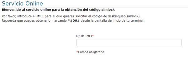 Página de Movistar en donde tendrás que insertar el número de IMEI de tu móvil para poder obtener tu código de desbloqueo.