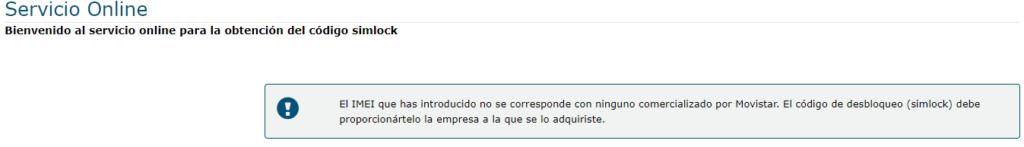 Página de Movistar que te mostraría tu código de desbloqueo si tu móvil hubiese tenido originalmente una tarjeta SIM de Movistar.