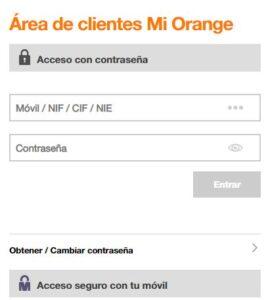 Página de inicio de sesión para entrar a tu cuenta de Orange.