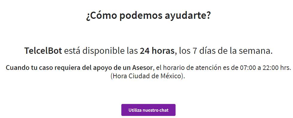 """Página web de atención al cliente de Telcel mostrando el botón """"Utiliza nuestro chat""""."""