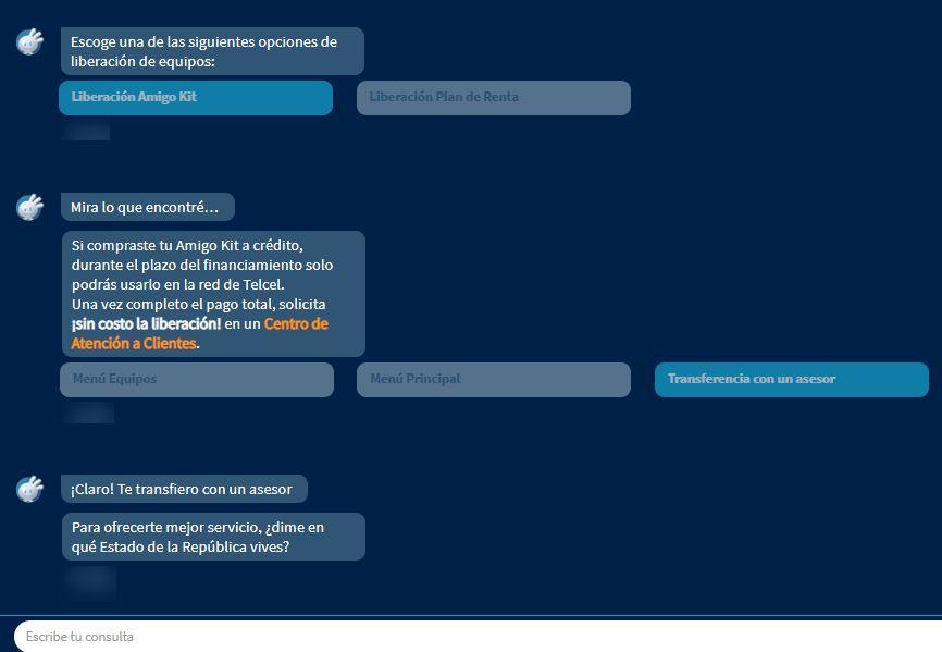 """Botones """"Liberación Amigo Kit"""" y """"Transferencia con un asesor"""" del chat de atención al cliente de Telcel."""