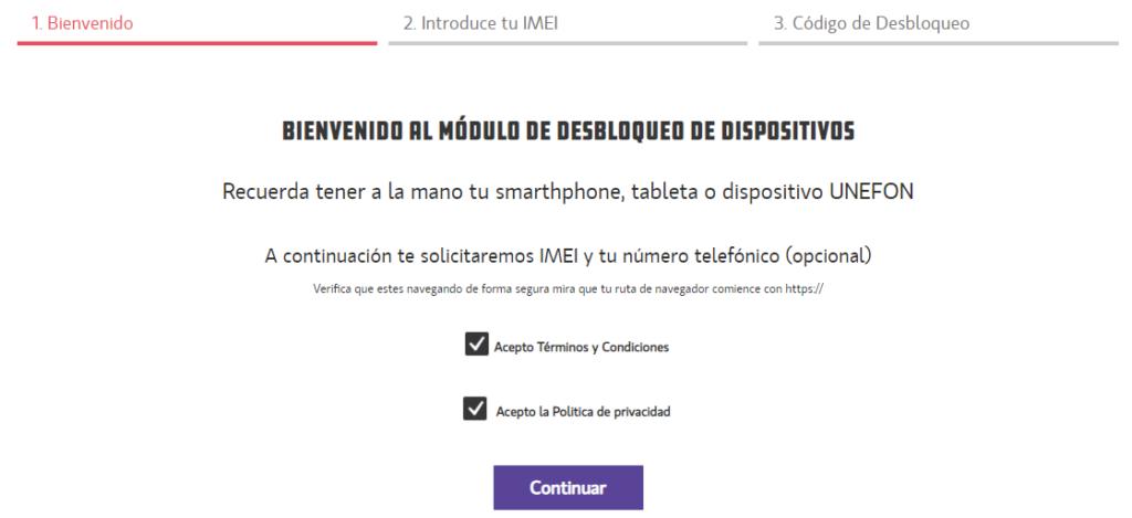 """Página web de Unefon para desbloquear tu celular mostrando las casillas para aceptar los términos y condiciones y la política de privacidad de Unefon, y mostrando el botón """"Continuar""""."""