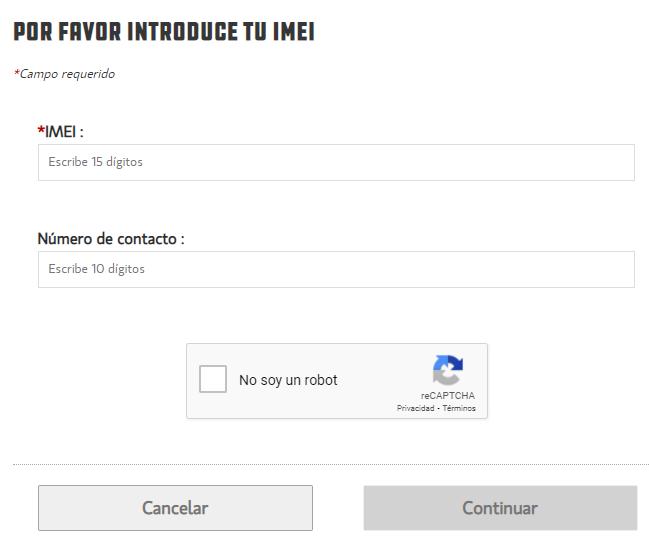Casillas para insertar el IMEI de tu celular y tu número de teléfono en la página web de Unefon para desbloquear tu celular.
