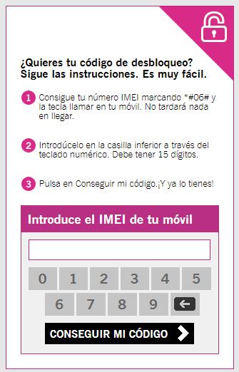 """Página web de Yoigo para obtener tu código de desbloqueo, con una casilla para insertar el IMEI de tu móvil y el botón """"Conseguir mi código""""."""