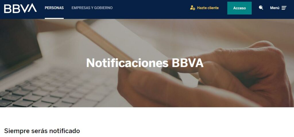Página del servicio de las Notificaciones BBVA en el sitio web del banco BBVA.