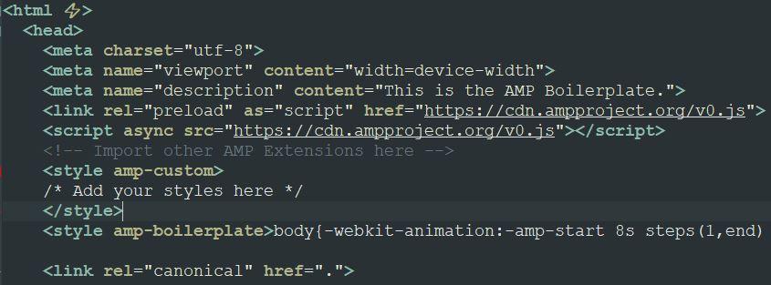 Plantilla del sitio web oficial de AMP con el código HTML para hacer una página AMP.
