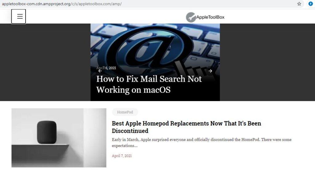 Versión AMP del sitio web de AppleToolBox, el cual fue abierto desde un ordenador de escritorio.