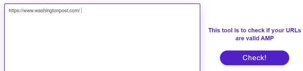 Sitio web de Website Planet mostrando el formulario para verificar si una página web usa AMP.