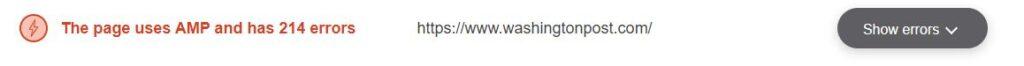Resultado de revisar si el sitio web de The Washington Post usa AMP en Website Planet. Se observa que sí usa AMP.