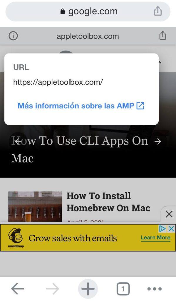 Versión AMP del sitio web de AppleToolBox, el cual fue abierto desde Chrome en un iPhone.