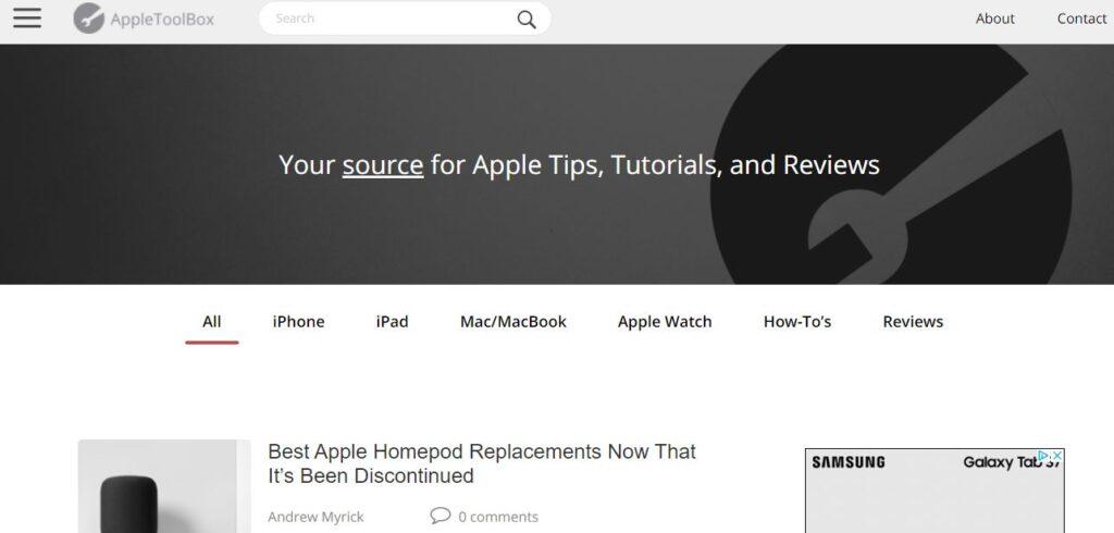Versión normal del sitio web de AppleToolBox, el cual fue abierto desde un ordenador de escritorio.