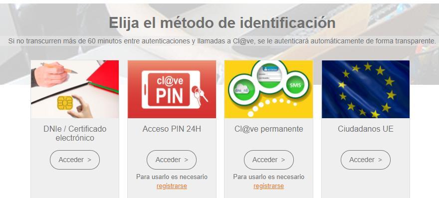 Página web que te aparece al intentar hacer un trámite de manera telemática en cualquier página de la Administración Pública. Se observa la opción para poder usar tu DNI electrónico.