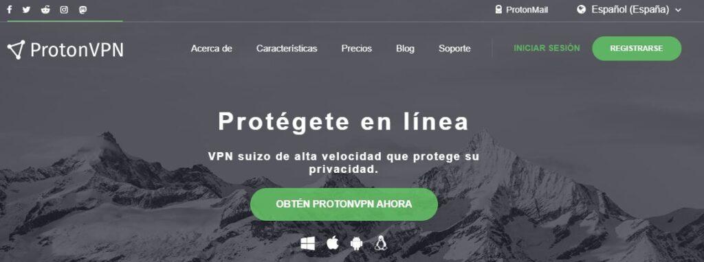 Página de inicio del sitio web de ProtonVPN.