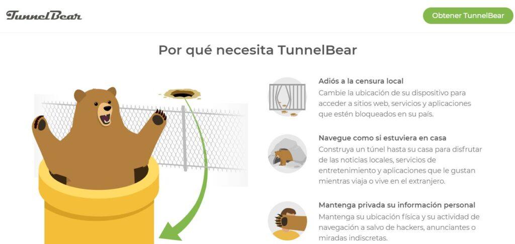 Página del sitio web oficial de TunnelBear, el cual explica las ventajas de esta VPN.