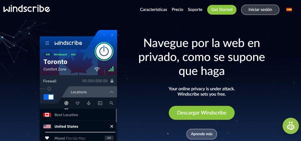 Sitio web de Windscribe.