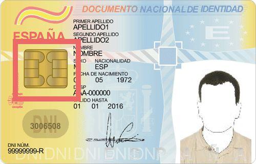 Página web del DNI electrónico de la Policía Nacional de España, el cual muestra un DNI electrónico genérico de los que fueron expedidos en el 2006.