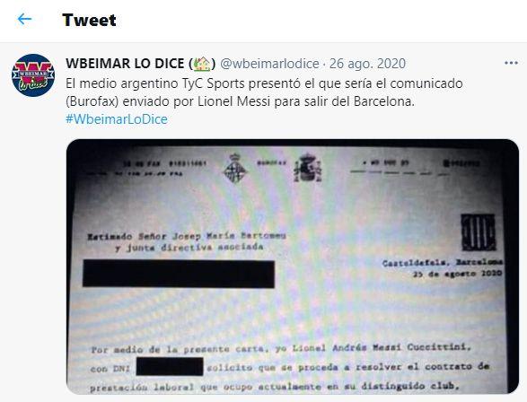 Tweet de @wbeimarlodice mostrando un documento enviado por burofax de Messi para pedir salirse de su club de fútbol.