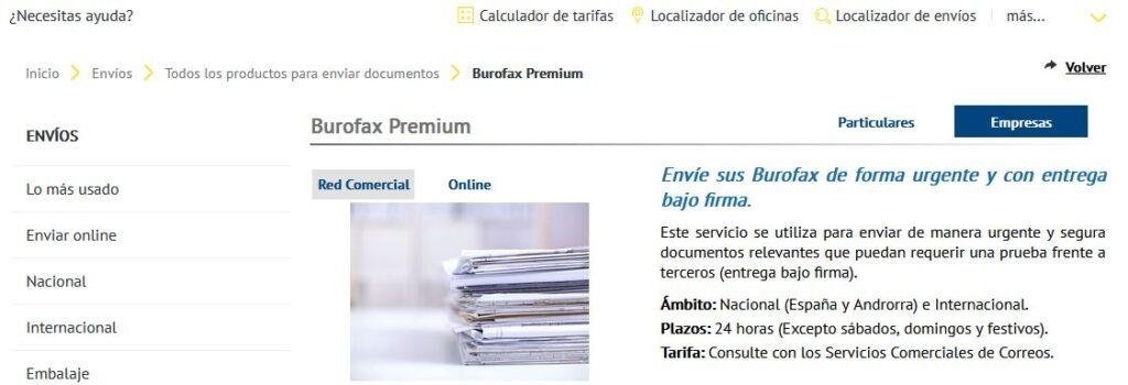 Página web de Correos mostrando su servicio de burofax.