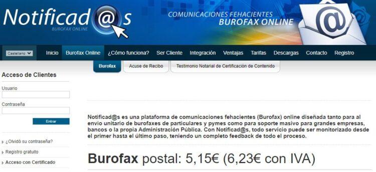 Página web de la empresa Notificados, el cual ofrece servicios de envío por burofax.