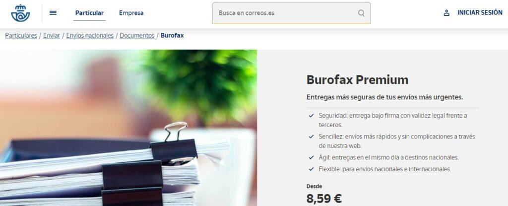 Página de Correos mostrando que ofrecen envíos por burofax por precios desde 8,59 euros.
