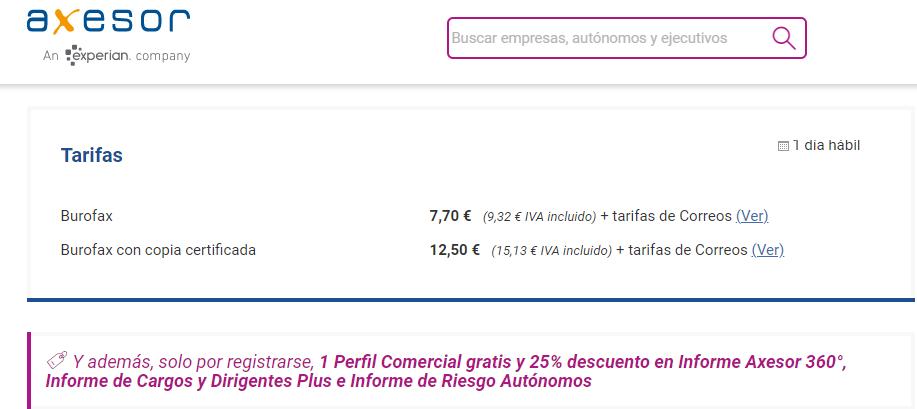 Página web de los servicios de envíos por burofax de Axesor.