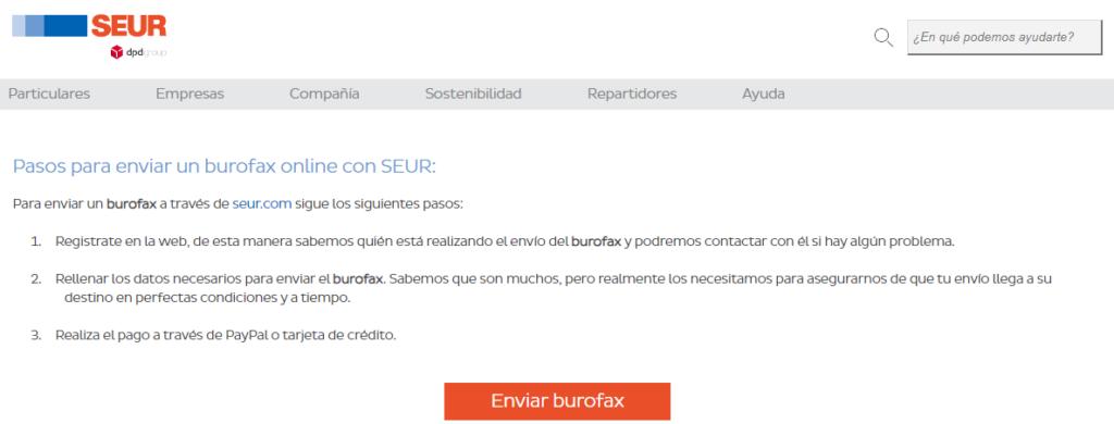 Página web mostrando el servicio de burofax de SEUR.