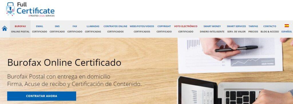 Página de los servicios de burofax de la empresa Avisos Certificados.