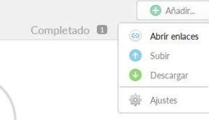 """Botón """"Añadir"""" del Gestor de transferencias de MEGAsync mostrando el menú con la opción """"Abrir enlaces""""."""