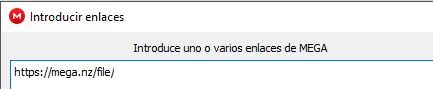 Ventana de MEGAsync para agregar el enlace de descarga del archivo que quieres descargar.
