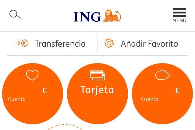 App del banco ING mostrando la cuenta bancaria de una persona.