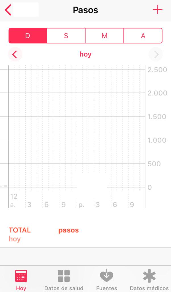 App de salud de un iPhone, el cual mide el número de pasos que el usuario camina todos los días usando el acelerómetro dentro de su móvil.