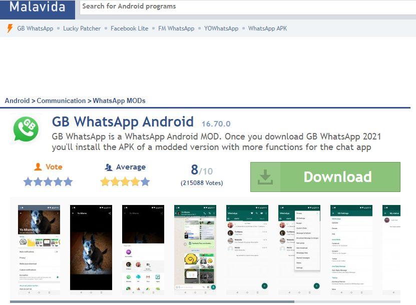 Sitio web en el que puedes descargar GB WhatsApp.