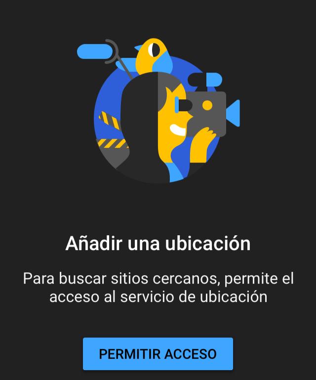 """App de YouTube pidiéndole al usuario permiso para poder usar su GPS para así conocer su ubicación, mostrando un botón que dice """"Permitir acceso""""."""