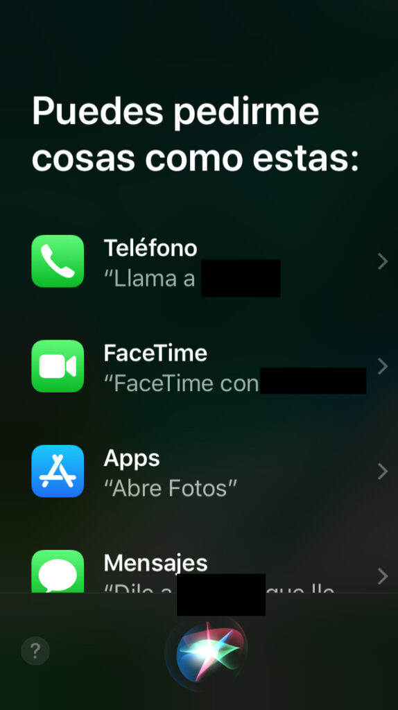 Ventana de Siri en un iPhone.