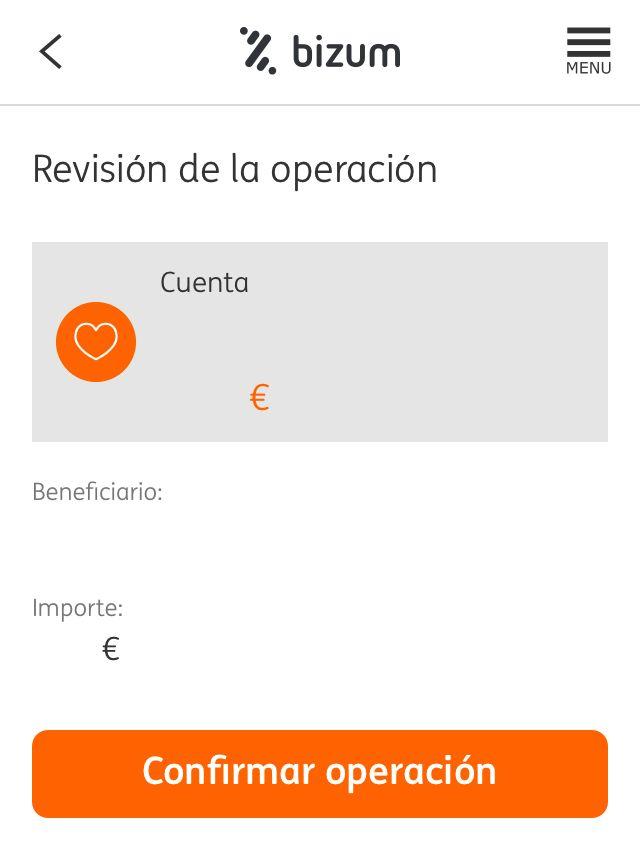 App del banco ING, el cual muestra a una persona que desea enviarle dinero a otra persona usando Bizum.