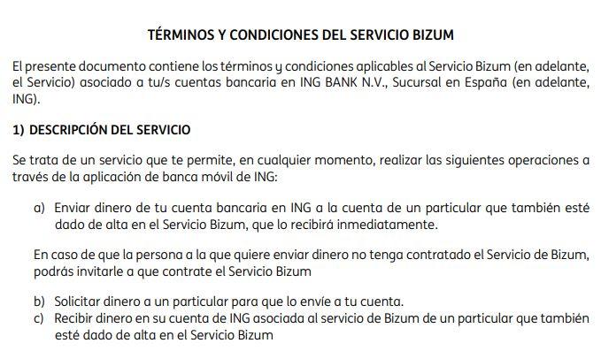 Términos y condiciones para poder usar Bizum en el banco ING. Se observa que dice que puedes enviar y recibir dinero a una persona, pero no especifica que puedas enviar dinero a varias personas al mismo tiempo.