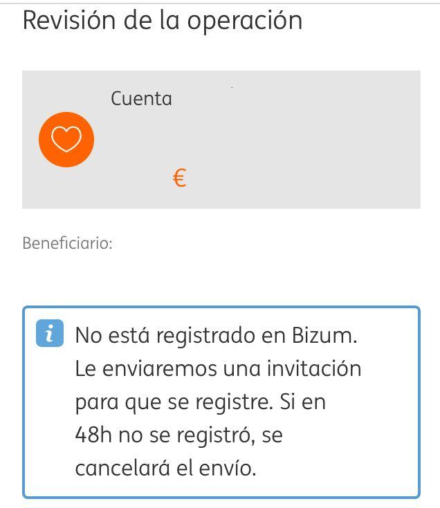 App del banco ING mostrando a alguien que quiere hacer una transferencia por Bizum a otra persona que no tiene cuenta de Bizum. Se observa un mensaje que dice que la otra persona no está dada de alta en Bizum.