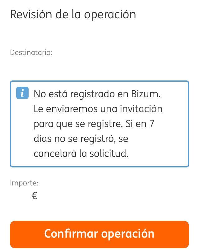 App del banco ING mostrando a alguien que quiere pedirle dinero por Bizum a otra persona que no tiene cuenta de Bizum. Aparece un mensaje que dice que la otra persona no está registrada en Bizum.