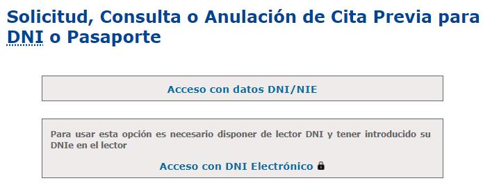 """Página web de la policía para hacer cita para solicitar el DNI. Se observa la opción """"Acceso con datos DNI/NIE""""."""