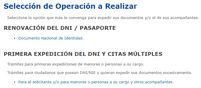 """Opción """"Documento Nacional de Identidad"""" del sitio web para solicitar el DNI."""