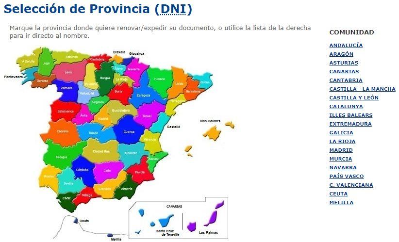 Página para escoger la provincia en donde vives del sitio web para solicitar el DNI.