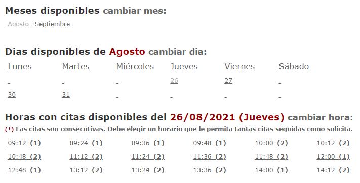 Calendario para escoger la fecha en la que puedes ir a la policía a entregar los recaudos del sitio web para solicitar el DNI.