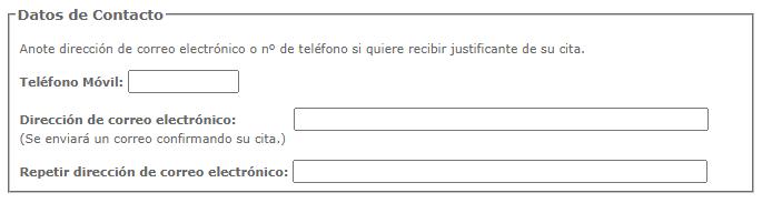 Formulario para escribir tu email y tu número de teléfono del sitio web para solicitar tu DNI.