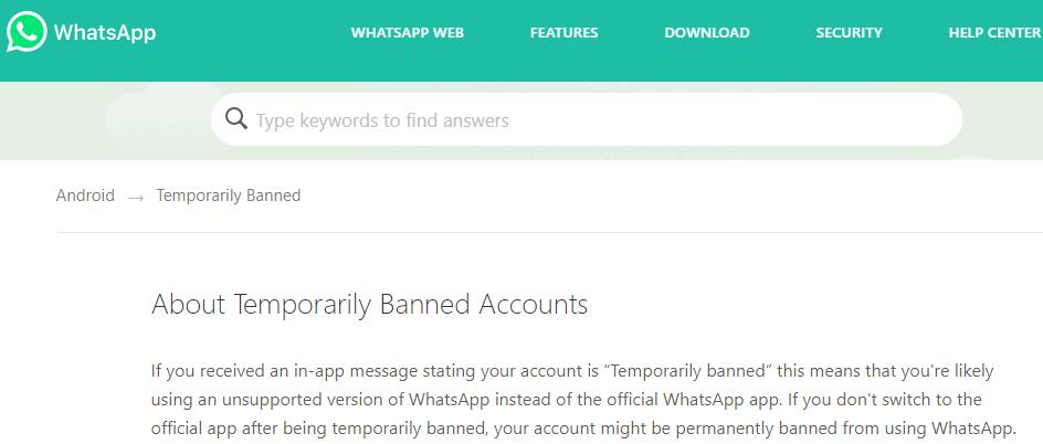 Términos y condiciones de WhatsApp en su sitio web oficial, el cual dice que te pueden suspender tu cuenta si usas versiones no oficiales de WhatsApp.