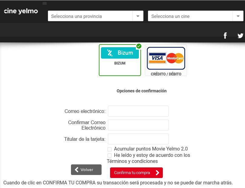 Página web de Yelmo Cines para reservar una entrada a una película, la cual te pregunta si quieres pagar con Bizum o con tarjeta de crédito.
