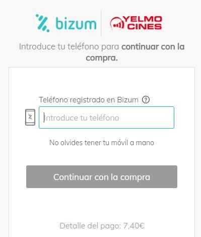 Página de Yelmo Cines para pagar por tu entrada de cine usando Bizum.