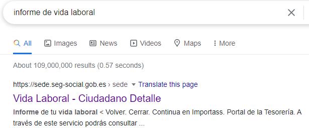 Búsqueda de Google mostrando la página web en donde puedes sacarte el Informe de Vida Laboral.