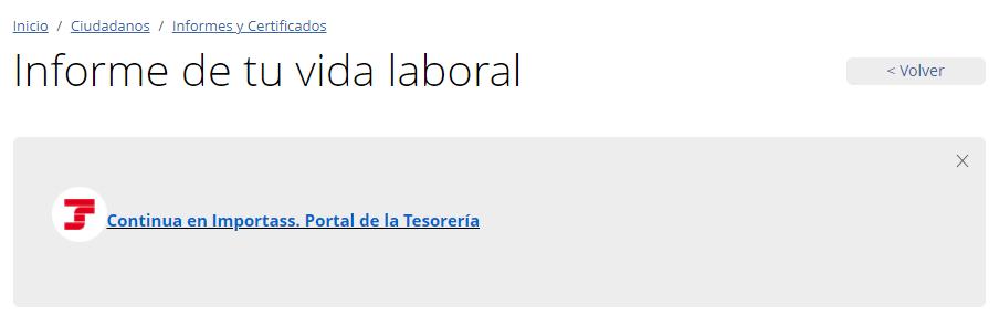 """Opción """"Continua en ImportPass. Portal de la Tesorería"""" del sitio web de la Seguridad Social."""