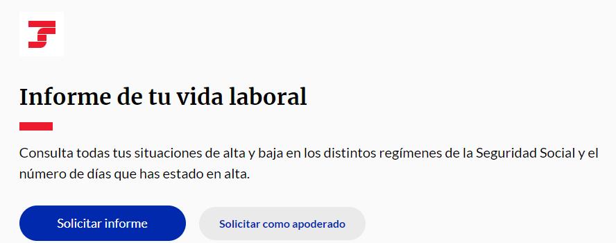 """Botón """"Solicitar informe"""" de la página web para sacarte el Informe de Vida Laboral."""
